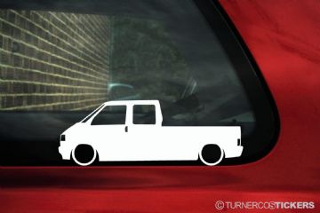 "2x Low car outline stickers - for Volkswagen T4 double cab ""pickup"" converted transporter"